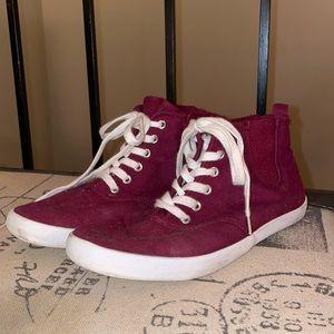 Burgundy H&M high top sneakers